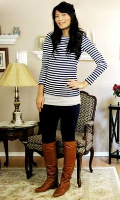 I would never think to pair my black skinnies with my brown riding boots, but it works.