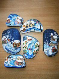 Best DIY Christmas Painting Rocks Design (45)