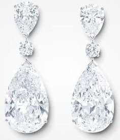 The Graff 'Twin Stars' are an exceptionally rare diamond pairing, featuring two 22 carat D Internally Flawless pear shape diamonds. The earrings consist of 6 diamonds with a total weight of Diamond Jewelry, Diamond Earrings, Drop Earrings, Diamond Stud, Round Earrings, Pear Shaped Diamond, High Jewelry, Diamond Are A Girls Best Friend, Wedding Jewelry