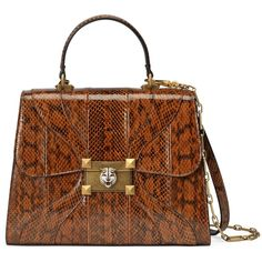 Gucci Osiride Snakeskin Top Handle Bag ($4,725) ❤ liked on Polyvore featuring bags, handbags, purses, brown, top handles & boston bags, women, snakeskin handbags, chain-strap handbags, boston bags and gucci handbags