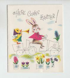 greet card, easter card, vintag card, card easter, trumpet, greeting cards