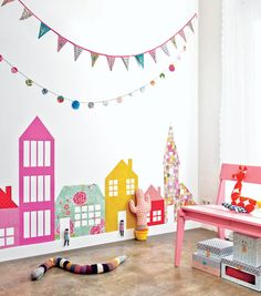 DIY wallpaper houses for playroom Make Your Own Wallpaper, Diy Wallpaper, Colorful Wallpaper, Painted Wallpaper, Diy Tapete, Creative Kids Rooms, Creative Ideas, Deco Kids, Little Girl Rooms