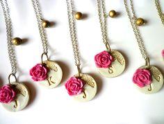 Bridesmaid Necklace- Romantic Vintage Rose - Set of 8. $190.00, via Etsy.