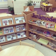 Junk modelling area in my Nursery classroom ☺️ I love these continuous provision storage boxes from I know the children… Year 1 Classroom Layout, Early Years Classroom, Classroom Setup, Classroom Design, Classroom Displays, Reception Classroom Ideas, Reception Ideas, Reggio Emilia, Art Area Eyfs