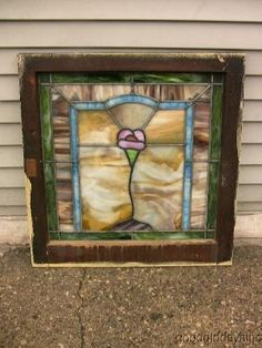 Antique Chicago Colorful Stained Leaded Glass Window by melody