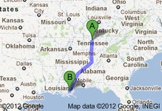 Drive from Nashville to New Orleans, via Memphis