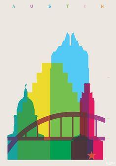 """""""Shapes of cities"""", une magnifique série de posters minimalistes et colorés du graphic designer Yoni Alter, qui illustre les grandes villes du monde en réuni"""