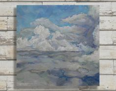 Peinture Original Art contemporain Wall nuages par RogerSewardArt