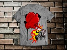 A dynamic design of Sprits spraying the center of the shirt. This design is printed on a 100% cotton, crew-neck t-shirt using direct to garment printing.