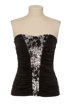 Foil and Sequin Ruched Tube Top - maurices.com TRIXXI