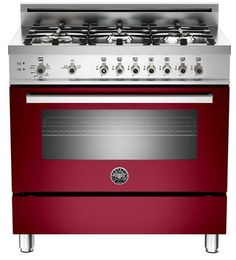 "PRO366GASVI Bertazzoni Professional Series 36"" All Gas Range - 6 Burners - Wine"