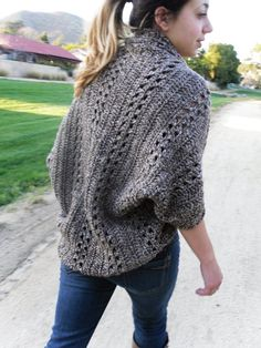 PDF PATTERN Crochet Shrug Cardigan Shawl w/Sleeves Easy/Beginner