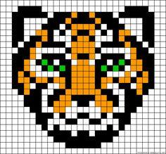 Pearl Beads Pattern, Hama Beads Patterns, Loom Patterns, Beading Patterns, Pixel Art Templates, Perler Bead Templates, Diy Perler Beads, Pixel Art Tigre, Manta Animal