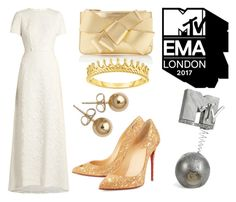 """Golden MTV Europe Music Awards 2017"" by linaila-stor ❤ liked on Polyvore featuring self-portrait, Christian Louboutin, Delpozo and Bling Jewelry"