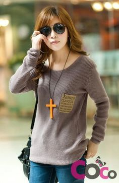 Khaki Long Line Round Neck Korean Fashion Sweater With A Front Pocket