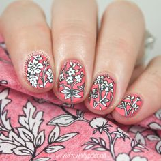 Black on White on Salmon - Intricate Floral Nail Art