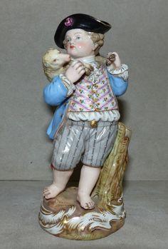 Alte Porzellan Figur, Meissen, Knaufschwerter, Schäferjunge, 12,5 cm