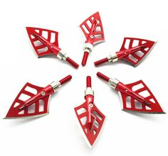 6 Pcs Broadheads 125 grains 4 Sharp Blade Hunting Red Devils Arrow Point Outdoor #Unbranded