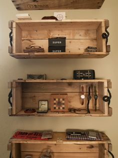 Incredible Ideas On How To Make Wooden Crates For Shelving Unit: Astounding Ideas On How To Make Wooden Crates As Multi Function Shelves Mounted To Cream Wall ~ steffsays.com Decorating Ideas Inspiration