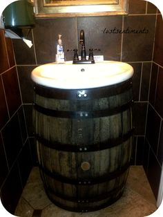 Barrel Sink at Leesburg Bar - very clever and tastefully decorated!