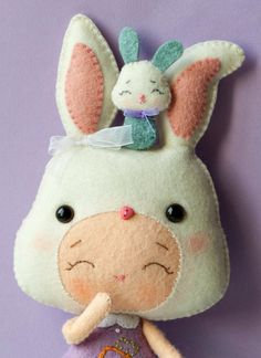 PDF. Bunny girl with puppet .Plush Doll Pattern Softie by Noialand