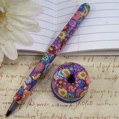 Handmade Polymer Clay Pen with Pen Holder  by by polymerclayshed, $10.99