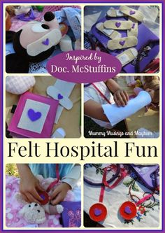 and a Disney Doc McStuffins Giveaway Easy Felt Bandage hospital play for children - Mummy Musings and MayhemEasy Felt Bandage hospital play for children - Mummy Musings and Mayhem Sewing For Kids, Diy For Kids, Crafts For Kids, Kids Fun, Doc Mcstuffins Birthday Party, Little Presents, Dramatic Play, Imaginative Play, Diy Toys