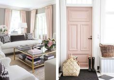 Pale dogwood pink curtains and door immediately add a feminine touch to a space.