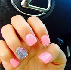 Accent nails are a really good way to enliven your routine manicure. Accent nails are astoundingly popular because they can really make your nails pop. Pretty Nail Designs, Simple Nail Art Designs, Gel Nail Designs, Nails Design, Sparkly Nail Designs, Accent Nail Designs, Pedicure Designs, Fancy Nails, Love Nails
