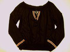 MILEY CYRUS MAX AZRIA Boho Peasant Top XL Juniors Black Embroidered Sheer EUC