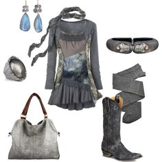 Shades of Grey, created by sumrgurl.polyvore.com --- i'm starting to love the look of cowgirl boots :)