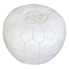 Handmade leather pouf in white with a foam fill and decorative stitch detail. Product: PoufConstruction Material: Gen...