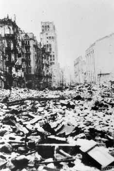 Ruins of Szpitalna Street in Warsaw after the Uprising's surrender. Note the ruins of the Prudential skyscraper in the background. Photograph probably taken on 20 November 1944.