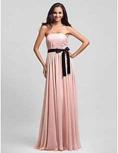 Bridesmaid Dress Floor Length Chiffon Sheath Column Straples... – USD $ 99.99