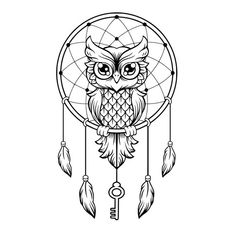 Dream-Catcher black and white owl. vector line illustration vector graphics Dream Catcher Drawing, Owl Dream Catcher, Dream Catcher Tattoo, Dream Catchers, Atrapasueños Tattoo, Buho Tattoo, Tattoo Drawings, Tattoo Care, Stencils Tatuagem