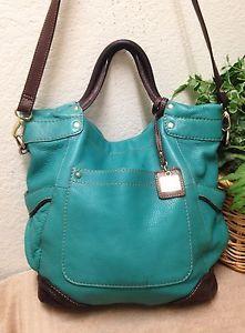 db97158d5770 Liz Claiborne Pebble Leather Handbag Shoulder Tote Bag Green Teal Signature  Fob