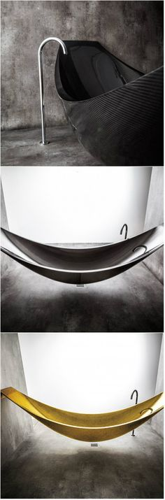 Sophisticated and Unique Suspended Hammock Bathtub We have just featured a list of shower spaces for the bathroom. Even if it is a shower area and the function is just the same, there can still be var Bathroom Trends, Budget Bathroom, Bathroom Wall Decor, Bathroom Styling, Bathroom Renovations, Small Bathroom, Bathroom Lighting, Bathroom Designs, Bathroom Ideas