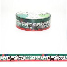 Washi Tape - Happy Birthday Puppy Dog Doggy Balloon Animal Theme- no.143 // 15mm x 10m by ChicChicFindings