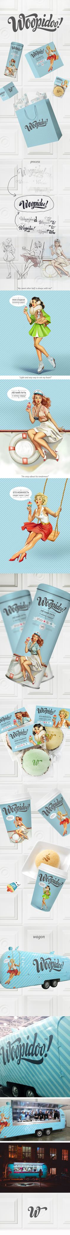 Pin up style graphic for WAT? How fabulous is this American-retro identity for Woopidoo? Woopidoo is a chain of mobile cafes, selling unique desserts in Moscow. Art directed by Valerya Polubiatko? Brand Identity Design, Corporate Design, Graphic Design Typography, Branding Design, Logo Design, Corporate Identity, Visual Identity, Site Web Design, Design Graphique
