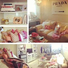 I love how pink is more and more acceptable to use in a living room. I'm obsessed with neutrals and bright pops of super feminine pink. College House, College Dorm Rooms, College Life, My New Room, My Room, Décor Boho, Up House, Dorm Life, Lounge