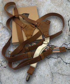White Combination Leather  Trouser Braces Plain Mens Suspenders