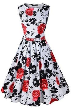 Hepburn Style Floral Rose Pattern Swing Circle Party Dress - A Thrifty Mom - Recipes, Crafts, DIY and Vintage Dresses 50s, Vestidos Vintage, Vintage Outfits, 50s Vintage, Vintage Style, Party Dresses Online, Party Gowns, Prom Dresses, Formal Dresses