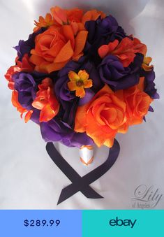 17pieces Wedding Bridal Bouquet Flowers ORANGE PURPLE Bride Boutonniere Groom