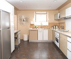 Modern Kitchen Design  Inexpensive stock cabinetry, a washable vinyl wallpaper backsplash, and items from big-box retailers such as the floor tile, sink, faucet, refrigerator, and dishwasher create a practical and stylish kitchen design. Undercabinet lighting, hidden outlets, and pull-out storage create sleek lines for a modern spin on retro style.  Total cost (excluding labor): $9,095.