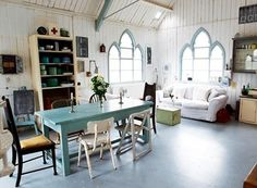 Amazing chapel converted in home. I adore the windows and mismatched chairs Gothic Windows, Church Windows, Arched Windows, Cathedral Windows, Church Conversions, Chapel Conversion, Warehouse Conversion, Sweet Home, Deco Retro