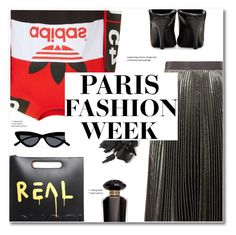 """""""Steet Style: Paris Fashion Week"""" by sunshineb ❤ liked on Polyvore featuring Christopher Kane, adidas Originals, Gucci, Le Specs, Balenciaga and Victoria's Secret"""