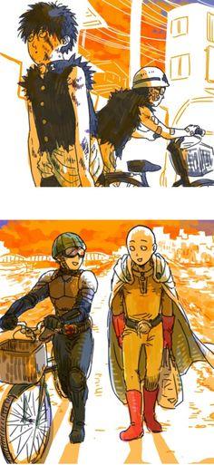 One Punch Man ~ Saitama & Mumen Rider One Punch Man Funny, One Punch Man Manga, Marvel, Saitama Sensei, Saitama One Punch Man, Metal Bat, Anime One, Caped Baldy, The Incredibles