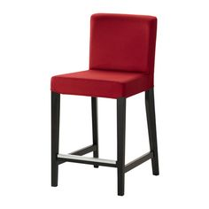 HENRIKSDAL Bar stool with backrest shown in Dansbo medium red color and height