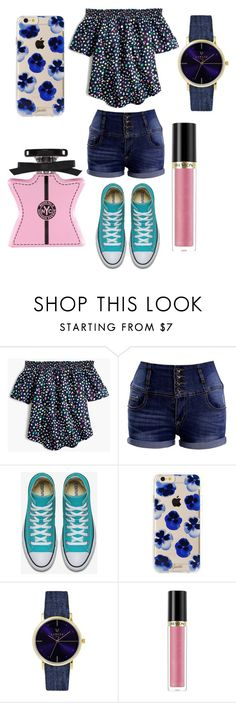 """smpl spring set"" by evagelialove on Polyvore featuring J.Crew, Sonix, Laruze, Revlon and Bond No. 9"