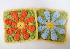 Квадратный мотив с цветком  The square motif with flower Crochet
